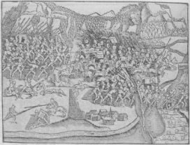 Bild 45.372-2: Schlachtbei Näfels 9. April 1388. (Nach Stumpfs Chronik)